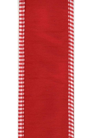 Faux Dupion With Red White Check Edge, Red