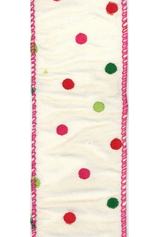 Linen With  Retro Polka Dots, Ivory/Pink