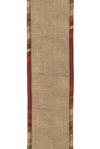 Burlap With Plaid Edge, Natural,Burgundy