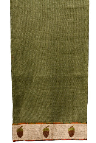 Burlap Acorn Embroidery Runner, Natural