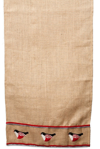 Burlap Runner With  Embroidery Black Red Bird