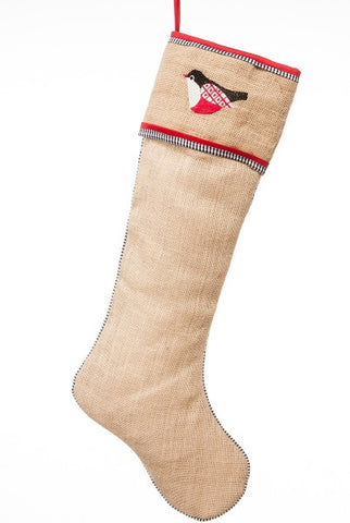 Burlap Stocking With  Chickadee, Black,Red