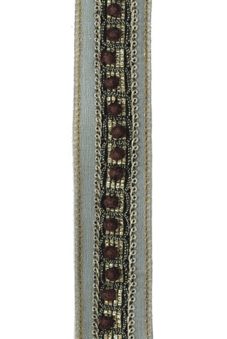 Faux Dupioni Flocked Bead Trim, Teal Brown
