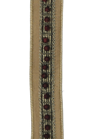 Faux Dupioni Flocked Bead Trim,Gold,Brown
