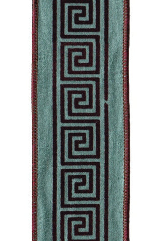 Faux Dupioni Brown Flocked Greek Key,  Teal
