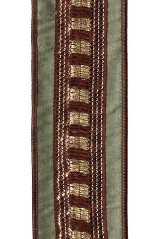 Faux Dupioni Center Check Trim With Copper Sequin, Spruce Green