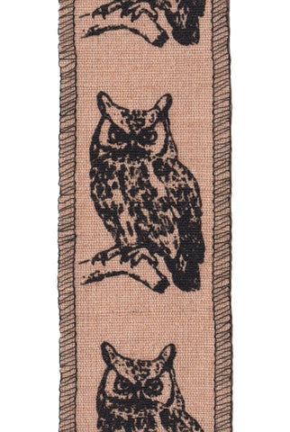 Cotton Jute Black Printed Owl, Natural