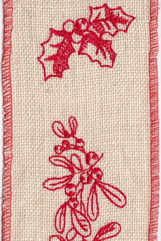 Burlap Embroidered Red Mistletoe,Holly, Ivory,Red