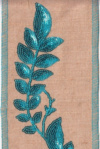 Cotton Jute Turquoise Sequin Embroidered Vines, Natural/Turquoise