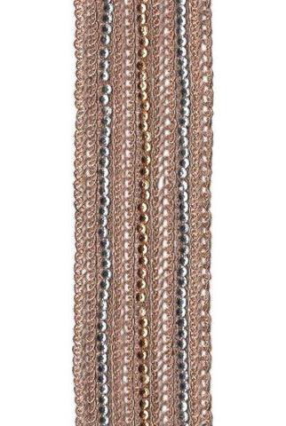Antique Rose Gold Crystal Trim, Light Gold, Clear