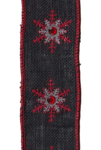 Burlap Red Jewel Red/Grey Embroidery Snowflake, Black