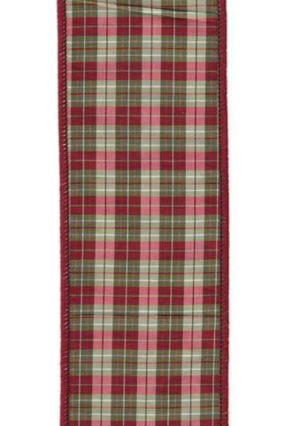 2.5 Inch X 10Yds Taffeta Aberdeen Plaid Burgundy Green