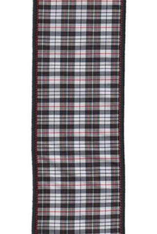 2.5 Inch X 10Yds Taffeta Aberdeen Plaid Black White Red