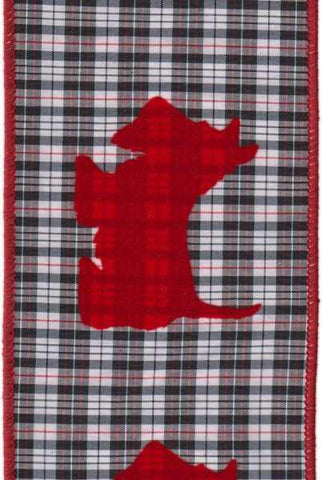 4 Inch X 10Yds Taffeta Aberdeen Plaid Flocked Scottie Dog Black White Red