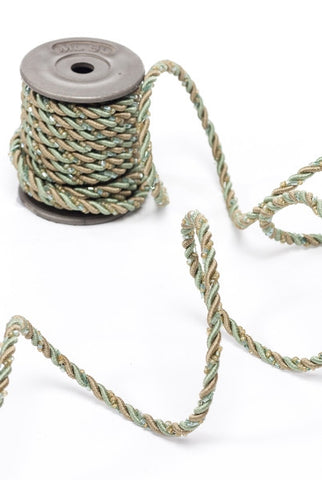 Wired Cording With Beads, Aqua/Sage - Ls