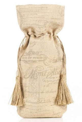 Jute Cotton French Printed Wine Bag, Jute Cotton, Black,Natural