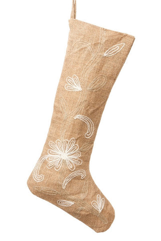 Crewel Burlap Christmas Stocking, Natural