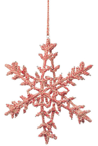 Jute Star Snowflake Ornament, Red/Natural