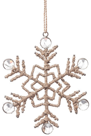 Metal Jute Snowflake With Glass Accents, Natural