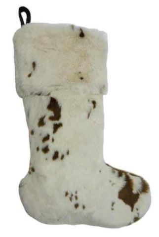 Faux Ayrshire Bull Fur Stocking Cream Brown