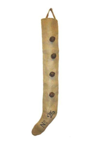 Burlap Long Stocking With Rusty Bells, Natural
