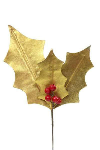 Craft Paper Holly Leaf X 4-5 Berries, Gold Leaf