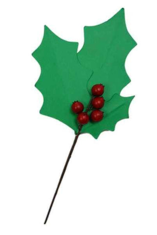Craft Paper Holly Leaf X 3 4 Berries Two Tone Green