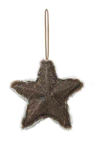 Faux Leather Star Fur Trim Ornament