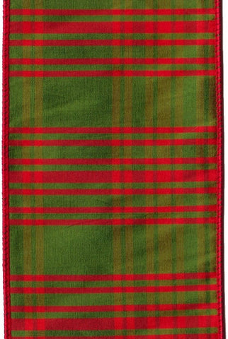 Faux Dupioni Plaid, Olive/Red