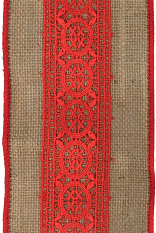 Burlap Center Lace, Natural,Red