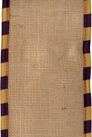 Faux Dupioni Stripe With  Burlap Edge, Purple,Gold