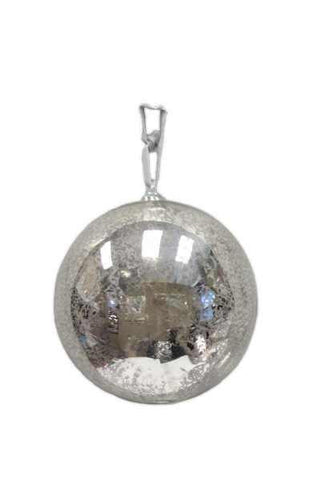 Glass Ornament Hand Blown Top, Mercury Vintage Silver Grey Ribbon