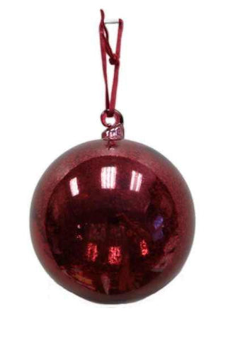 Glass Ornament Hand Blown Top, Mercury Vintage Burgundy, Burgundy Ribbon