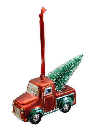 Glass Truck With Tree Hand Blown Top Red Green