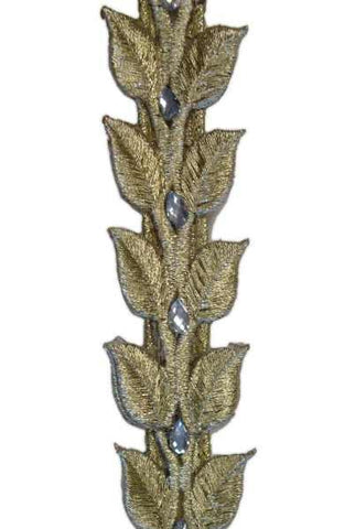 1 Inch X 9M Leaf Crystal Jewels Gold