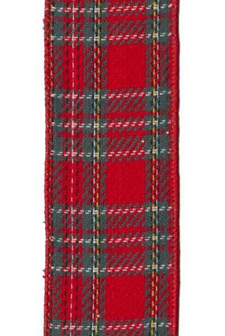 Faux Wool Plaid, Teal Green/Red