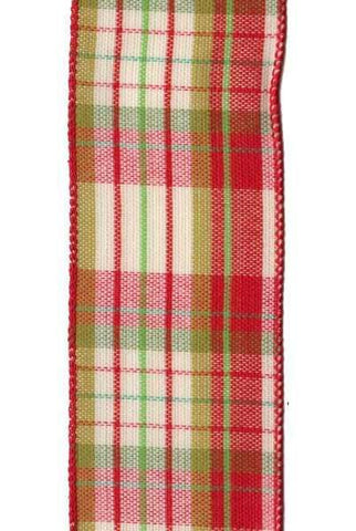 Hopsack Plaid, Green/Red/Cream