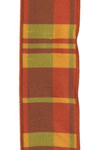 Faux Dupion Plaid Yellowith Orange