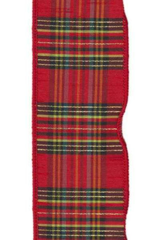 Faux Dupion Plaid Metallic Gold Black Red