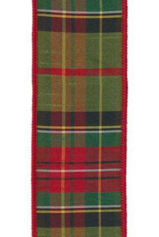 Faux Dupion Tradition Tartan Moss Green Red