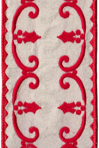 Felt Embroidery, Holly Swirls, Ivory, Red,