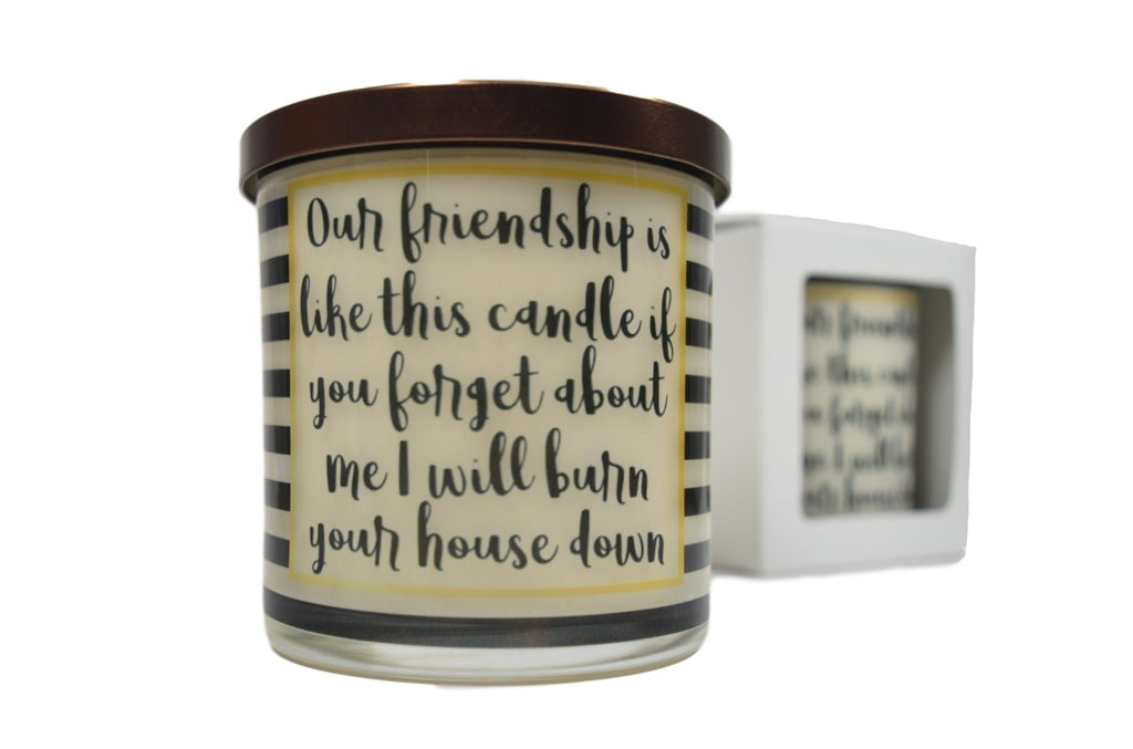 Our Friendship Is Like This Candle If You Forget About Me I Will Burn Your House Down  Soy Candle