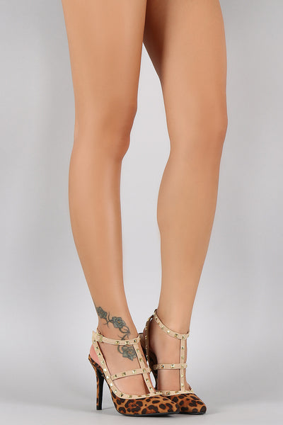 Anne Michelle Studded T-Strap Leopard