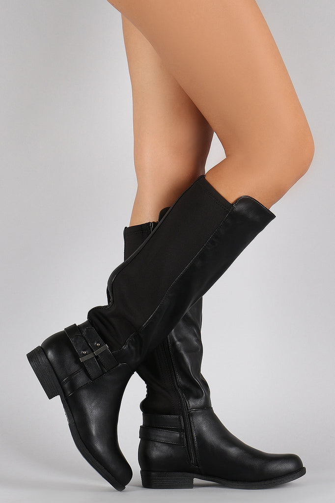 9ca364e2808 Bamboo Button Stretch Back Round Toe Riding Knee High Boots – BBooi