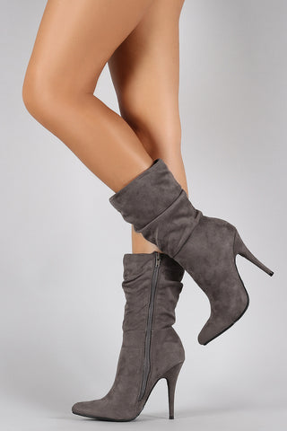 182b1dc66e5 Anne Michelle Suede Slouchy Pointy Toe Mid Calf Boots