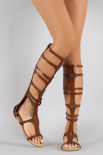High Strappy Gladiator Sandals Perforated Knee Studs Flat DEYWH92I
