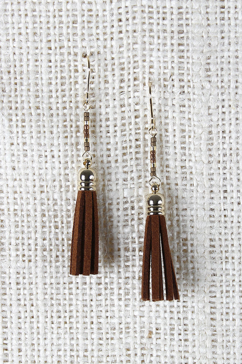 Beaded Suede Tassel Earrings