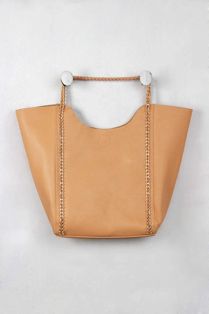 Woven Chain Accent Trapeze Tote Bag