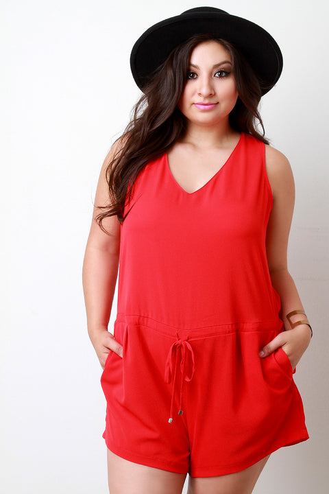 Textured Woven V-Neck Pocketed Romper