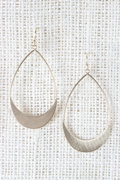 Scratch Design Oval Dangle Earrings